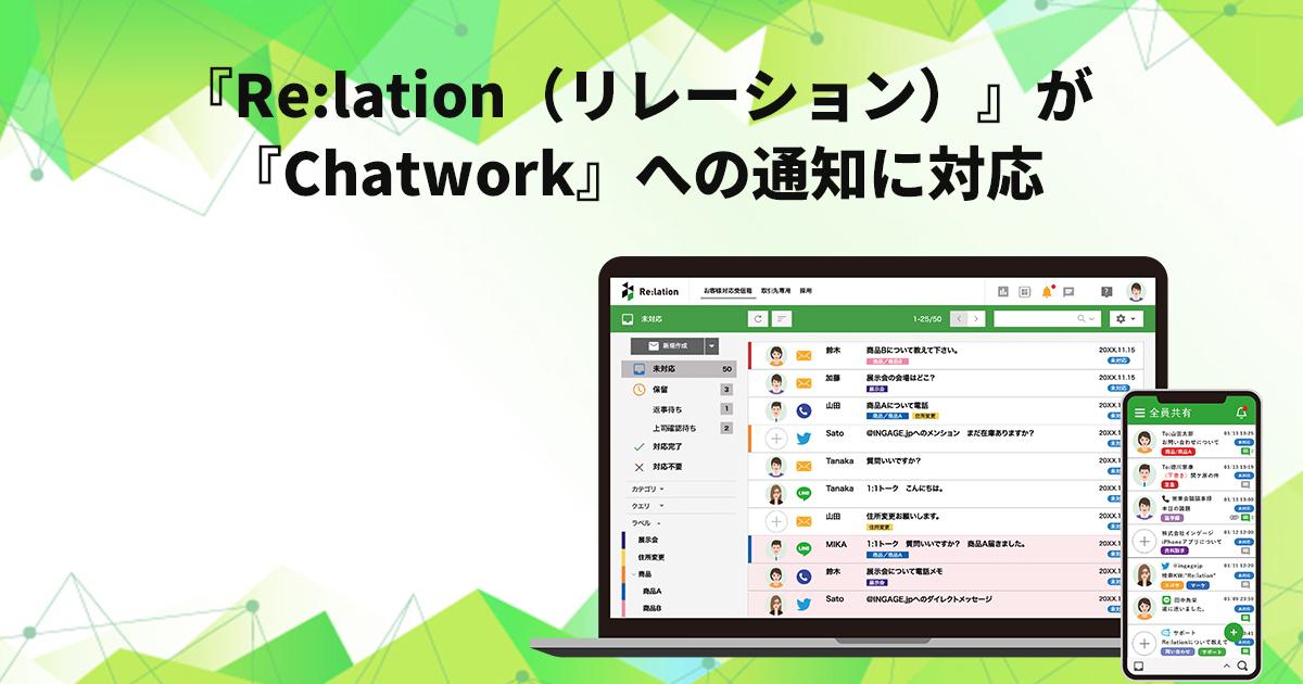 メール共有システム「Re:lation(リレーション)」が「Chatwork(チャットワーク)」への通知に対応