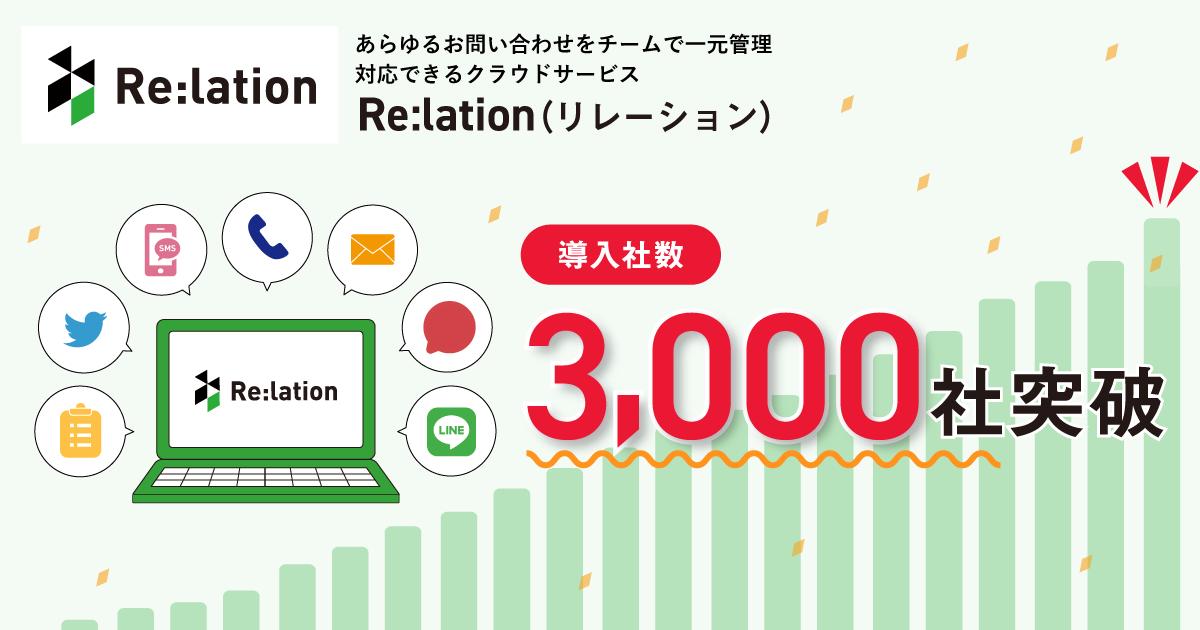 顧客対応クラウド「Re:lation(リレーション)」導入企業3,000社を突破!直近5年間導入社数約3倍の成長